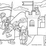 Knight's castle with knights for coloring for children