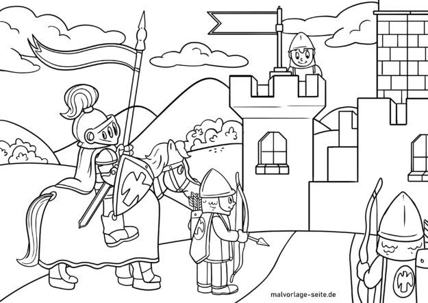 Coloring page knight castle