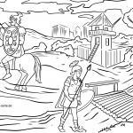 Roman settlement in Roman times for coloring for children