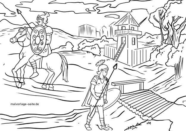 Malvorlage Römersiedlung der Römerzeit