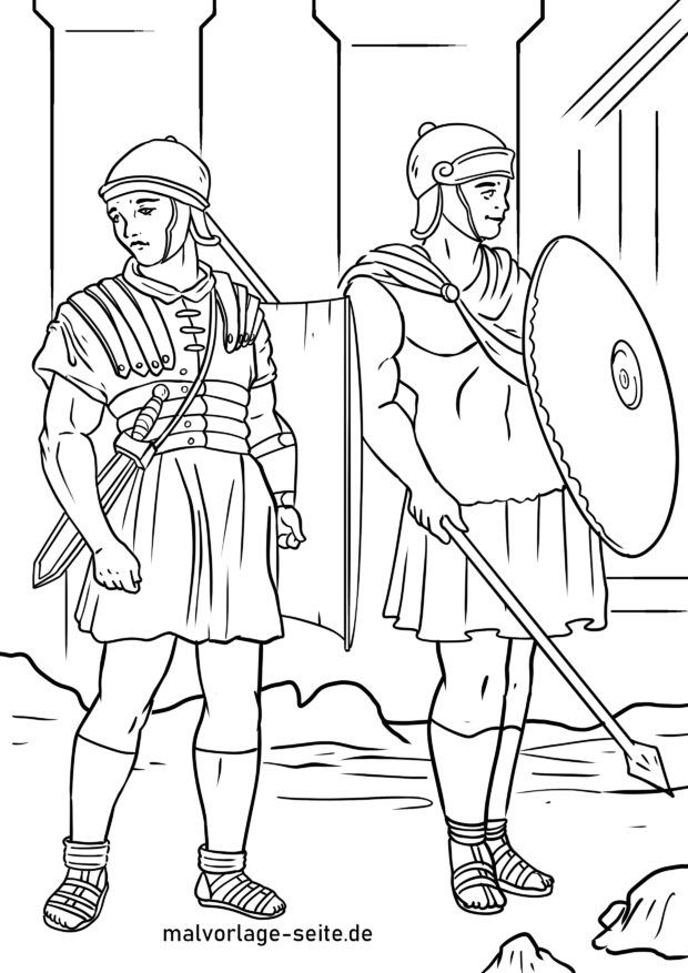 Coloring page Roman soldiers / legionnaires