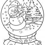 Coloring page snow globe for painting for children