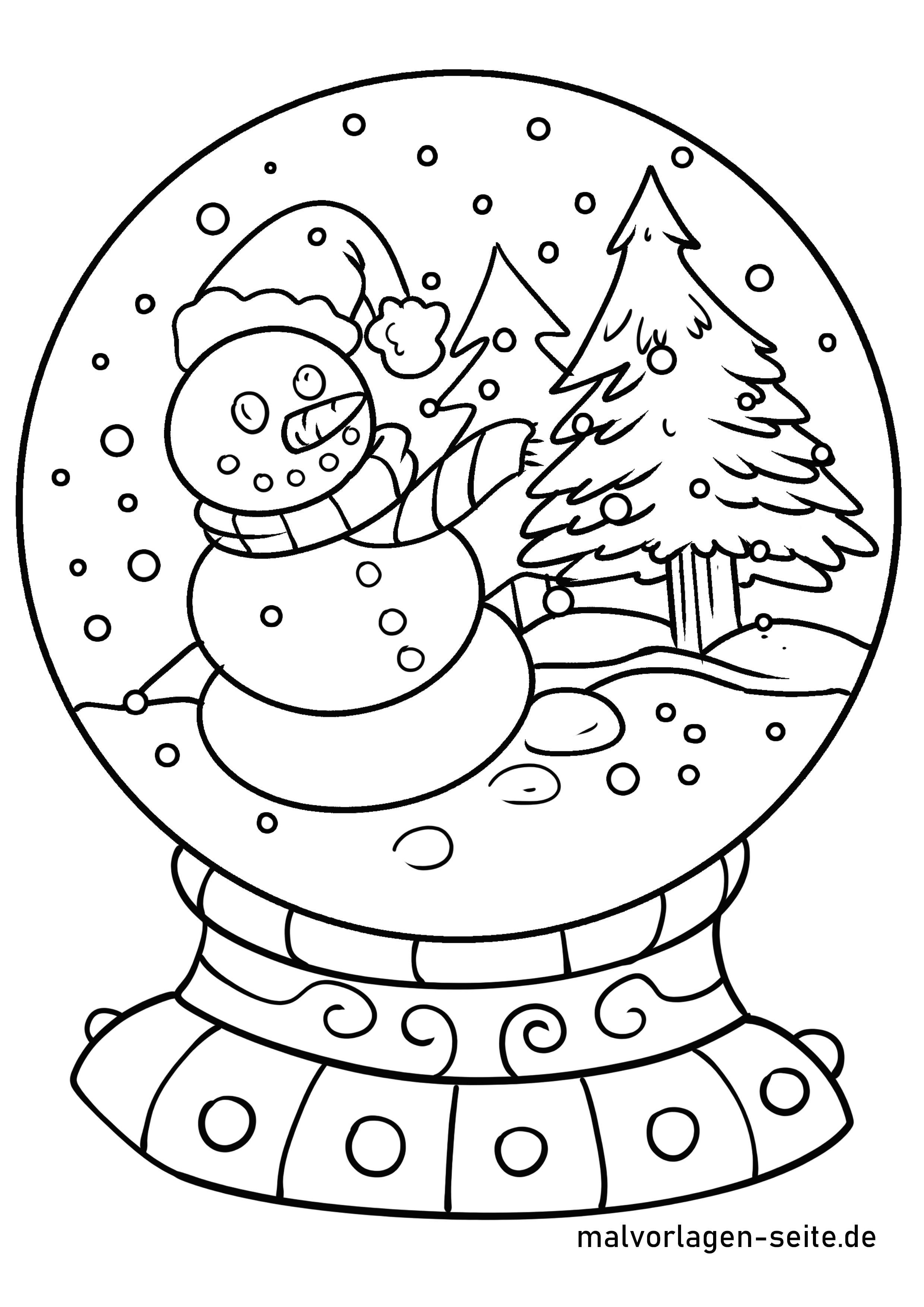 malvorlage schneekugel | winter - ausmalbilder kostenlos