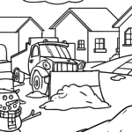 Coloring page snowplow pushes snow for coloring