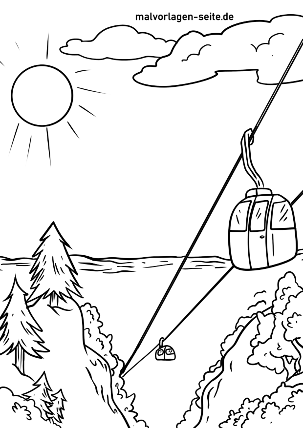 Coloring page cable car