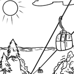 Coloring page cable car in the mountains for coloring