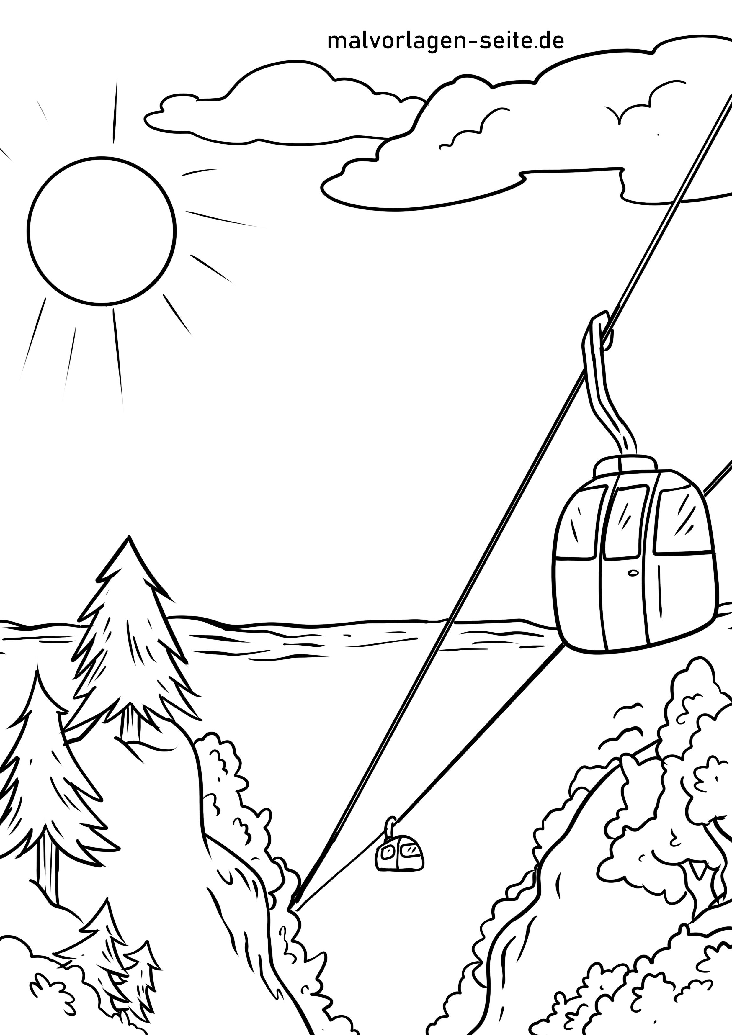 Malvorlage Seilbahn  Ferien Berge - Kostenlose Ausmalbilder