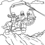 Coloring page Ski lift ride Family for coloring