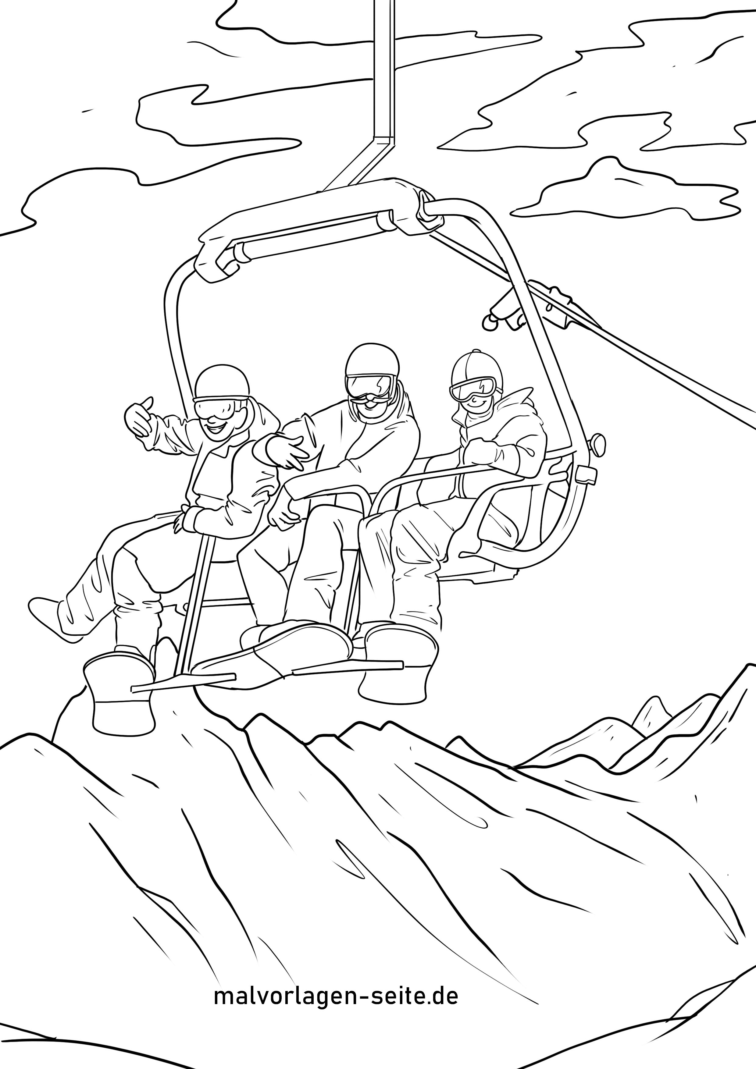 malvorlage skilift  winter urlaub  ausmalbilder