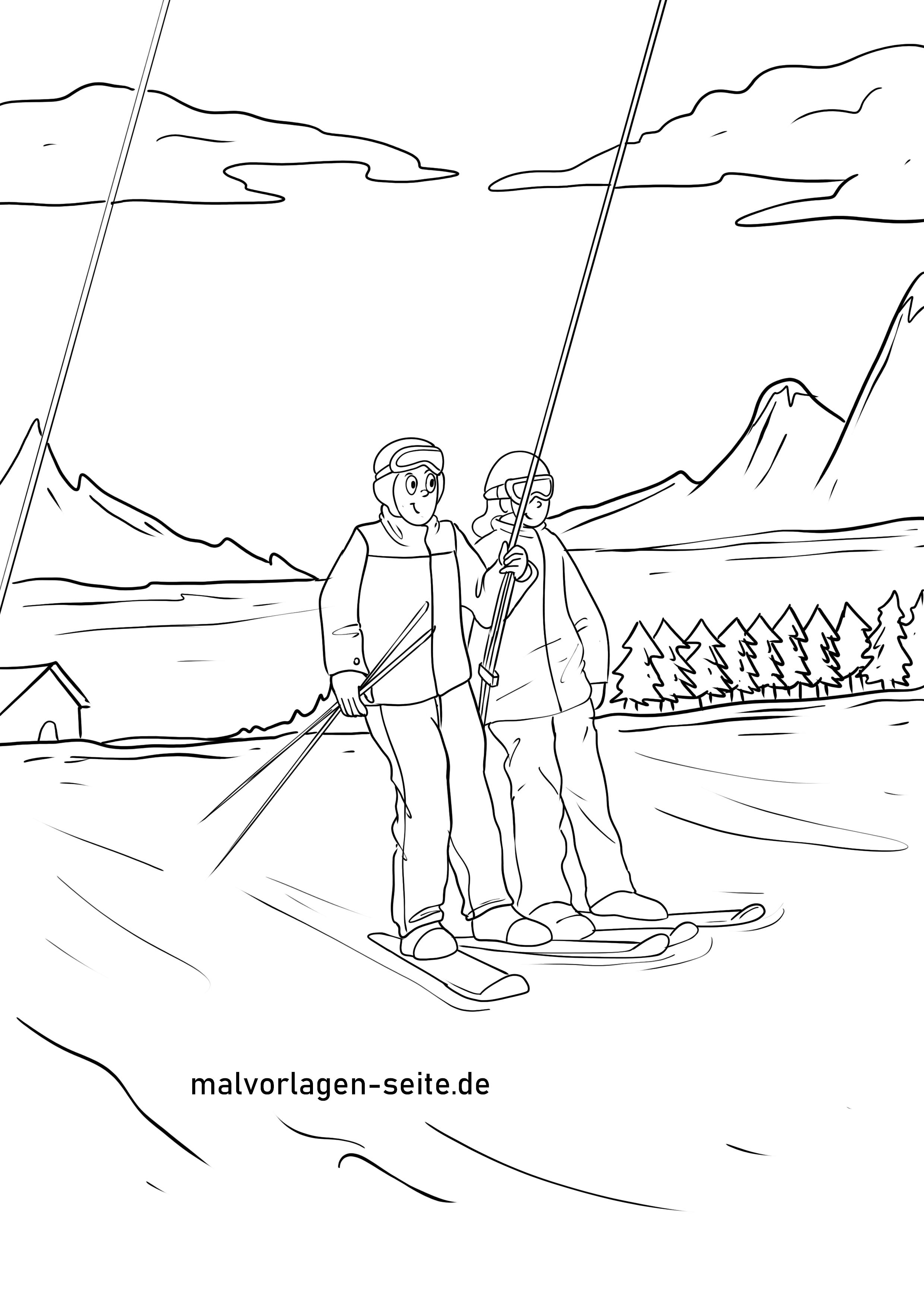 malvorlage skilift  urlaub winter  kostenlose ausmalbilder