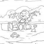 Coloring page child plays in the mud for coloring