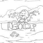 Coloring page kids playing in the mud