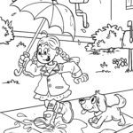 Coloring page Children play in the rain