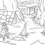 Värityssivu Stone Age Family luolassa väritystä varten