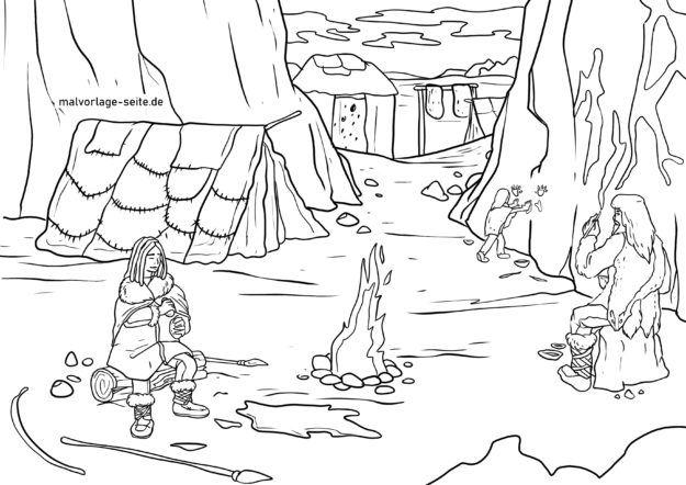 Coloriage famille de l'âge de pierre dans la grotte