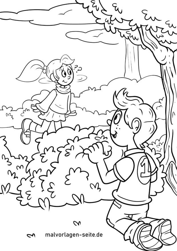 Coloring page playing hide and seek