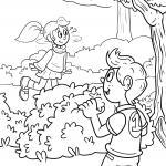 Coloring page playing hide-and-seek for kids