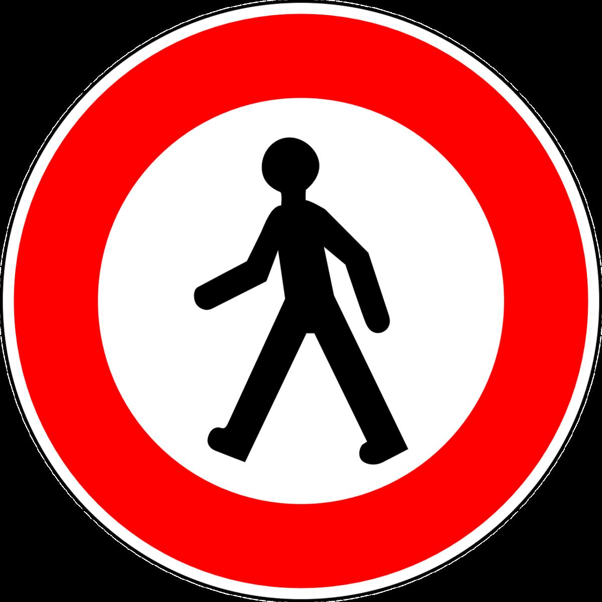 verkehrszeichen füßgänger verboten malvorlage  kostenlose