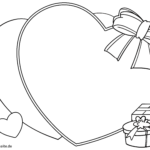 Voucher template hearts and gifts for coloring