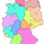 Zemljovid u boji saveznih država Njemačke bez označavanja