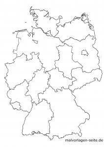 Germany map with federal states blanko