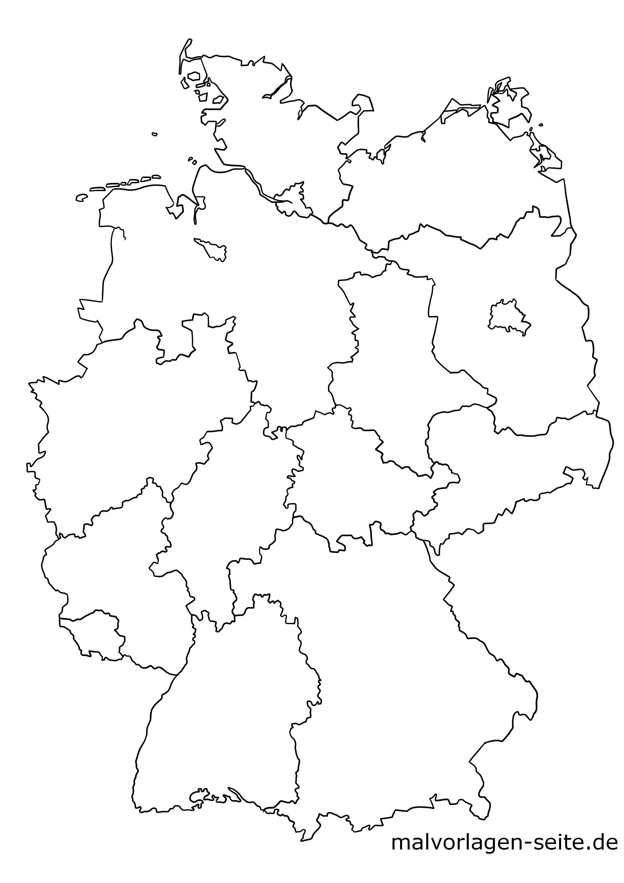 deutschland karte blanko Wie heißen die 16 Bundesländer von Deutschland und ihre Hauptstädte