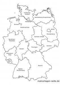 Deutschland Landkarte mit Bundesländern beschriftet schwarz-weiß