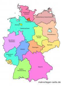 Germany federal states map colored