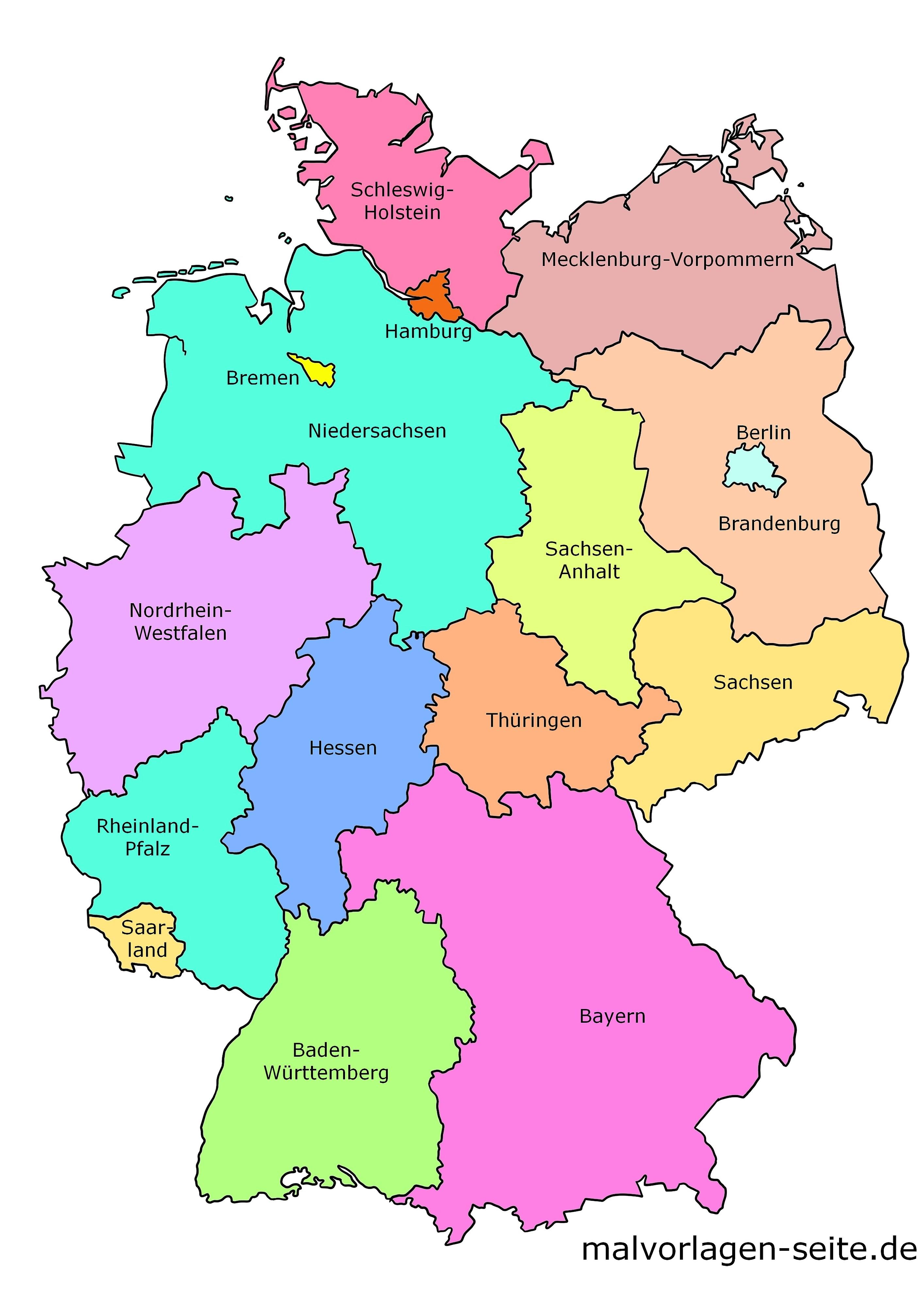 bundesländer auf der karte Wie heißen die 16 Bundesländer von Deutschland und ihre Hauptstädte