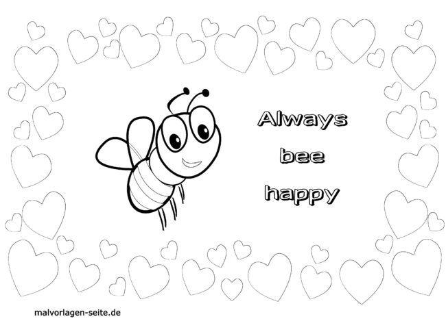 malvorlage liebe  bee happy  kostenlose ausmalbilder