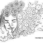 Malvorlage Blumenmädchen | Personen Kinder