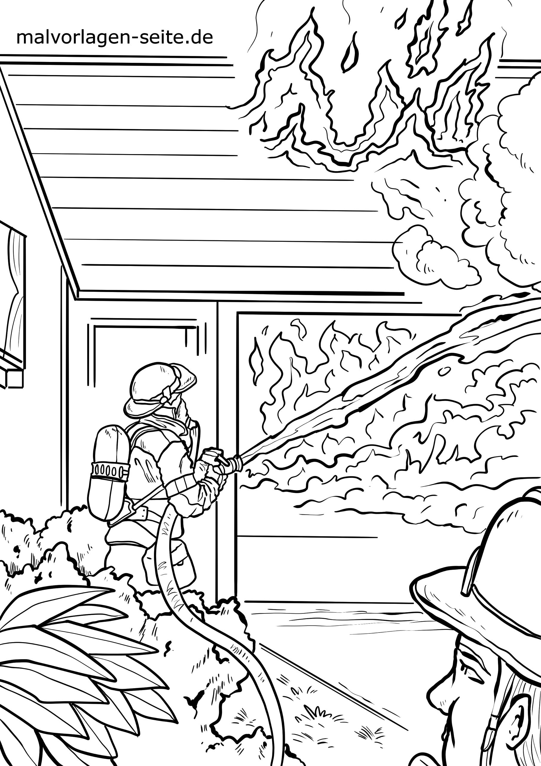 ausmalbilder feuerwehr  malvorlage feuerwehr hausbrand