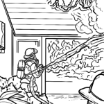 Coloring page fire department house fire
