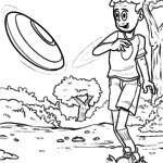 Coloring page throw Frisbee for coloring