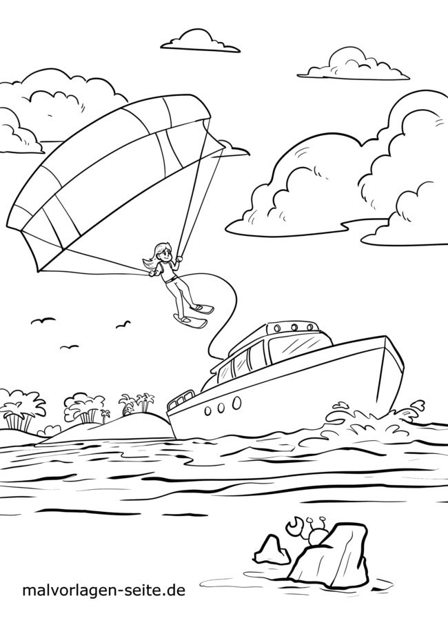 Coloring page paragliding