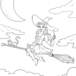 Coloring book flying witch for coloring for children