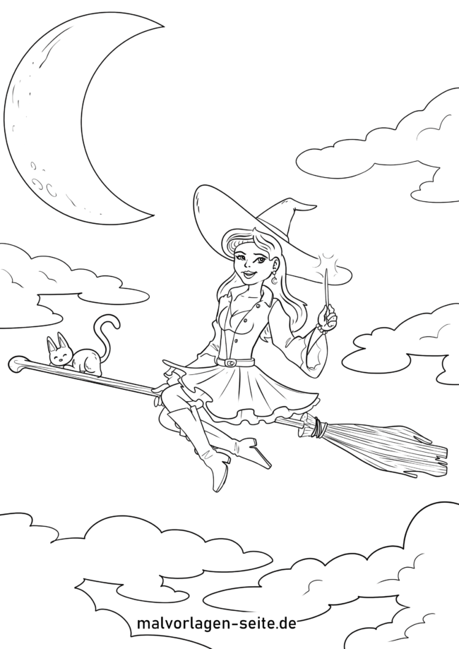 Coloring page witch on broom