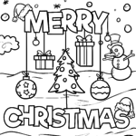 Coloring page Merry Christmas for coloring