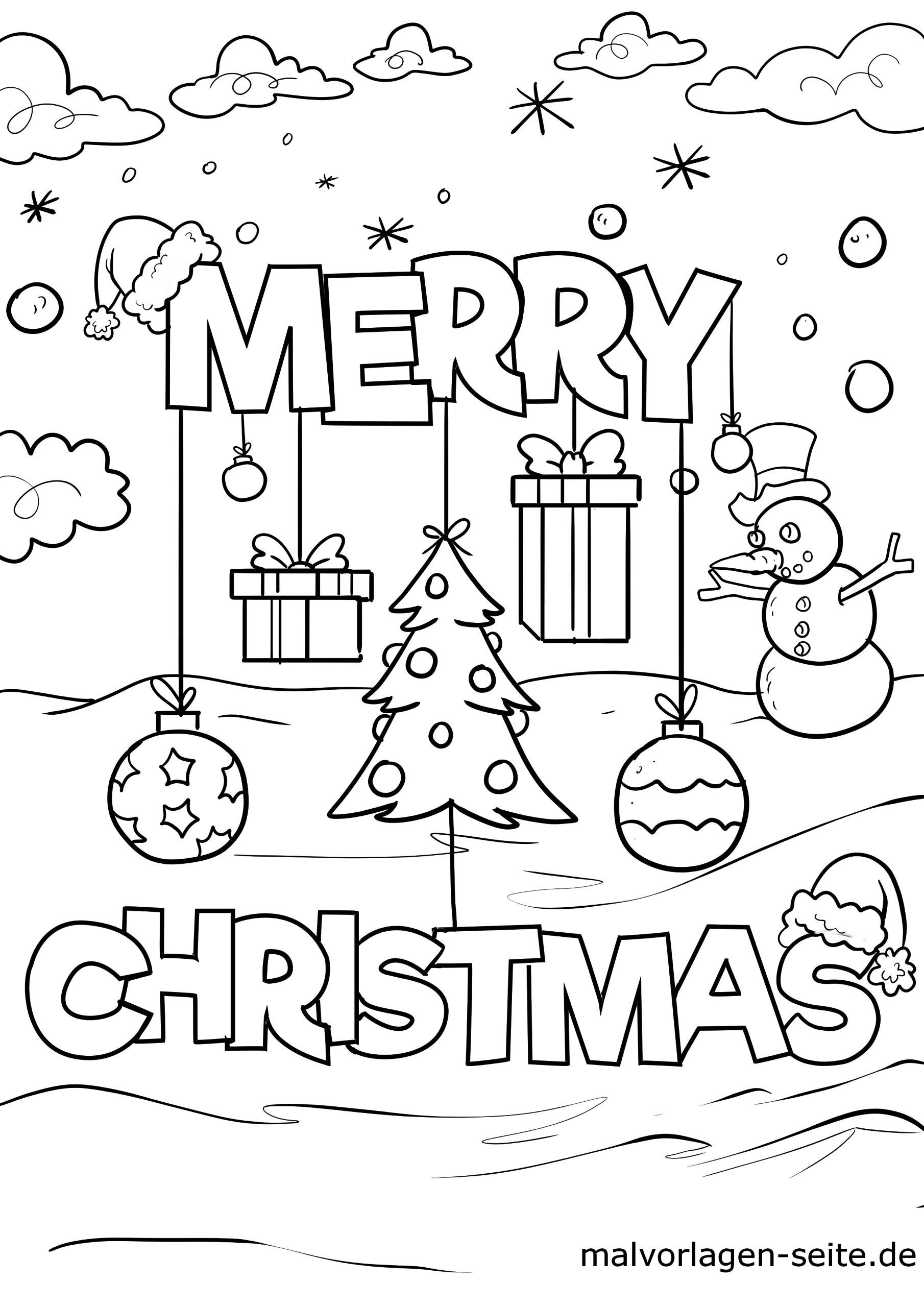 Coloring page Merry Christmas  Christmas - Free Coloring Pages
