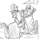Malvorlage Ritter auf seinem Pferd ausmalen