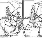 Coloring page playing polo | Horse sport for coloring