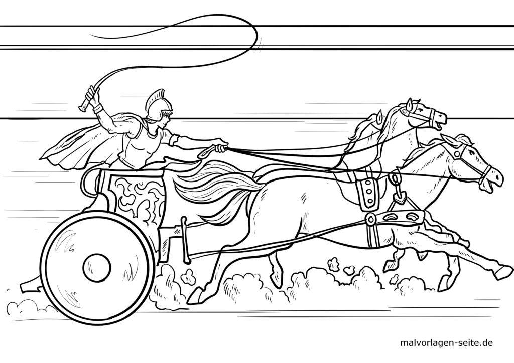 malvorlage römischer streitwagen  römer geschichte
