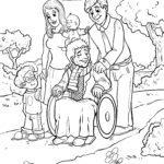 Malvorlage Rollstuhl fahren - Opa im Rollstuhl zum Ausmalen