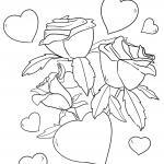 Template hearts and roses for coloring