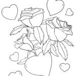Coloring page love | Hearts and roses
