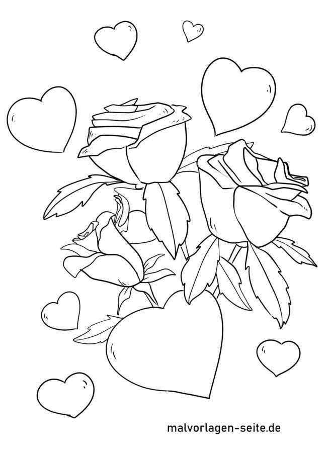Kleurplaten Liefde Is.Kleurplaat Liefde Harten En Rozen
