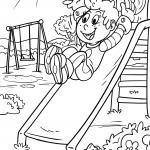 Coloring page slide on the playground for coloring
