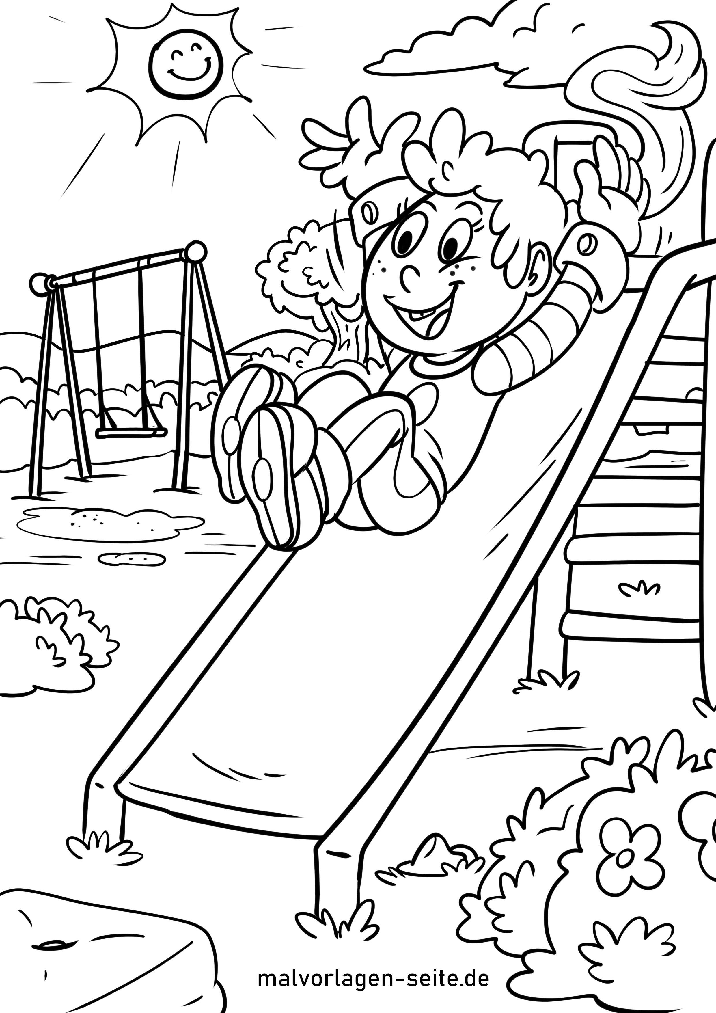 Malvorlage Kinder - Rutsche Spielplatz - Kostenlose Ausmalbilder