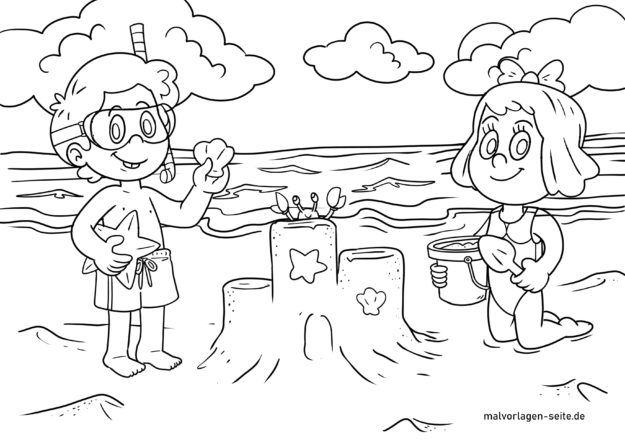 Sandcastle Coloring Page | Summer coloring pages, Castle coloring ... | 442x625