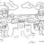 Coloring page Sandburg build on the beach for coloring